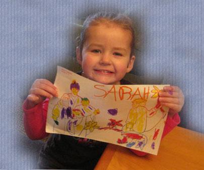 sarah coloring a